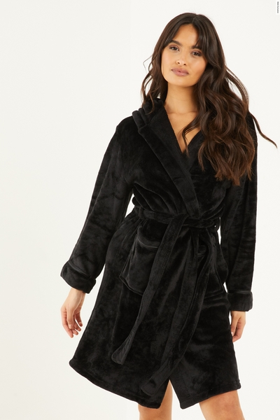 Black Hooded Fleece Robe